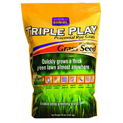 Bonide 60277 Triple Play Rye Grass Seed, 20-Pound : Grass Plants : Garden & Outdoor