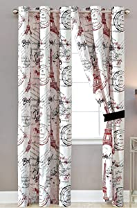 Sapphire Home Window Curtain Panel Set (2 Panels) with Sheer Backing, Silver Grommet, Paris Eiffel Tower Theme, Red White, Curtain Paris Red
