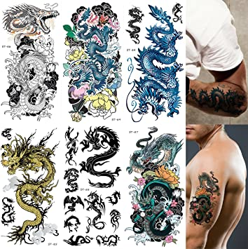 49bc3057950e6 Amazon.com : Supperb Mix Dragons Temporary Tattoo / 6-pack (Traditional  Set) : Beauty