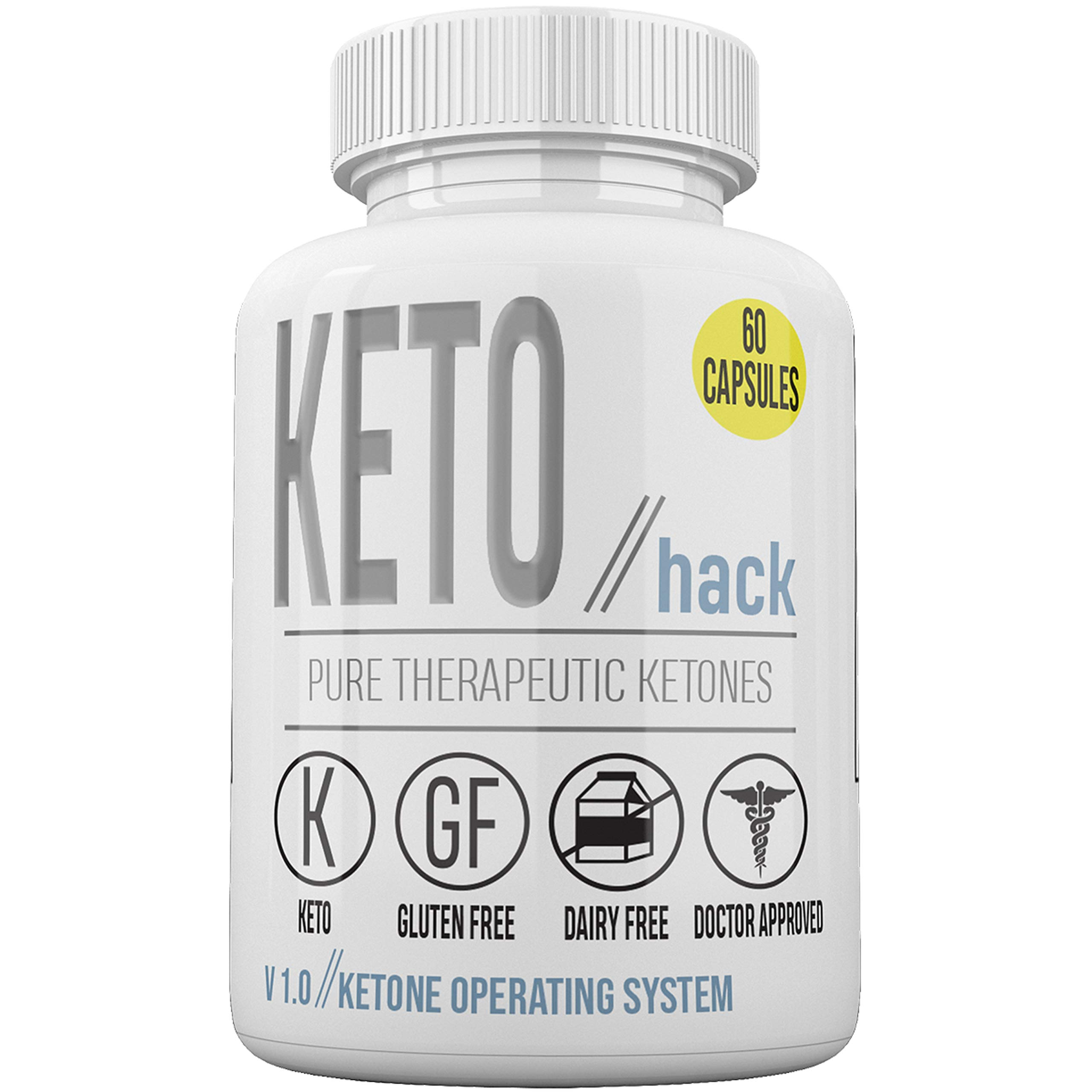 Keto Hack Capsules - Pure Therapeutic Ketones - Ketone Operating System - 30 Dose Supply