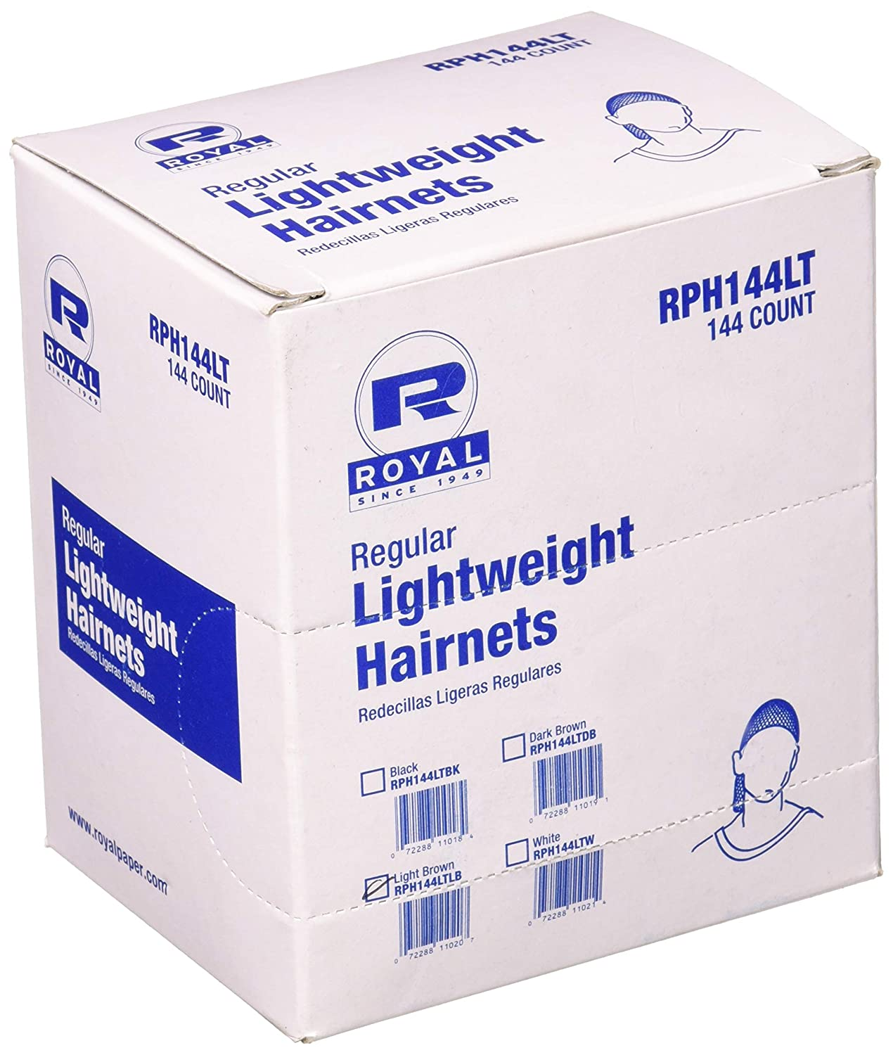 Royal 24' Light Brown Light Weight Hairnet, Disposable and Latex Free, Package of 144 RPH144LTLB-IN