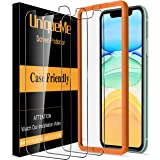 [3 Pack] UniqueMe Screen Protector for iPhone 11 (6.1 inch) Tempered Glass, [Case Friendly] 9H Hardness [Alignment Frame Easy Installation] High Definition Bubble Free