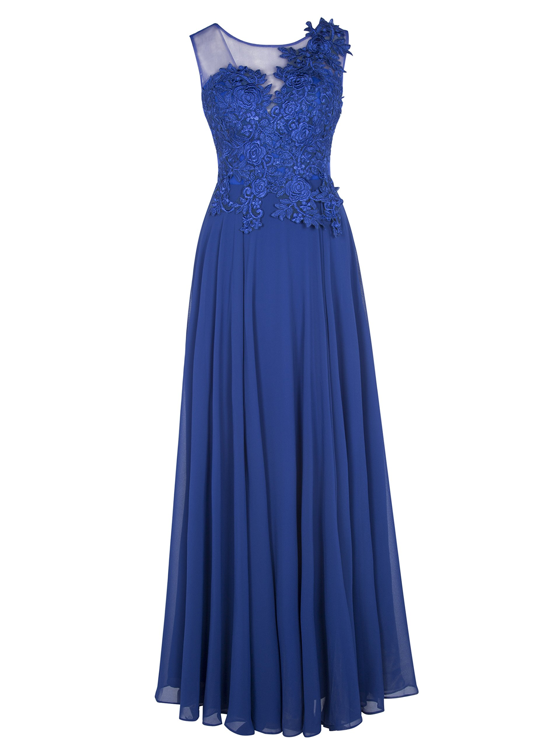Tanpell Womens Concise Sheer Neckline Appliques Lace-up Prom Evening Dress Royal Blue US10