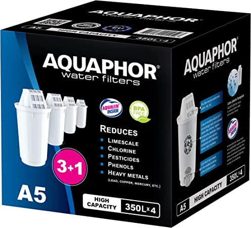 AQUAPHOR A5 Pack 3+1 Cartucho de Filtro de Agua, Blanco, 350 l: Amazon.es: Hogar