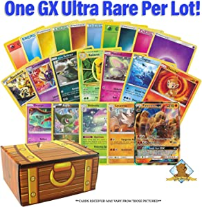 300 Assorted Pokemon Cards - 1 GX Ultra Rare, 2 Hologrpahic Rares, 2 Reverse Holographics, 5 Rares, 90 Common/Uncommons, and 200 Energy Cards - Includes Golden Groundhog Storage Treasure Chest Box