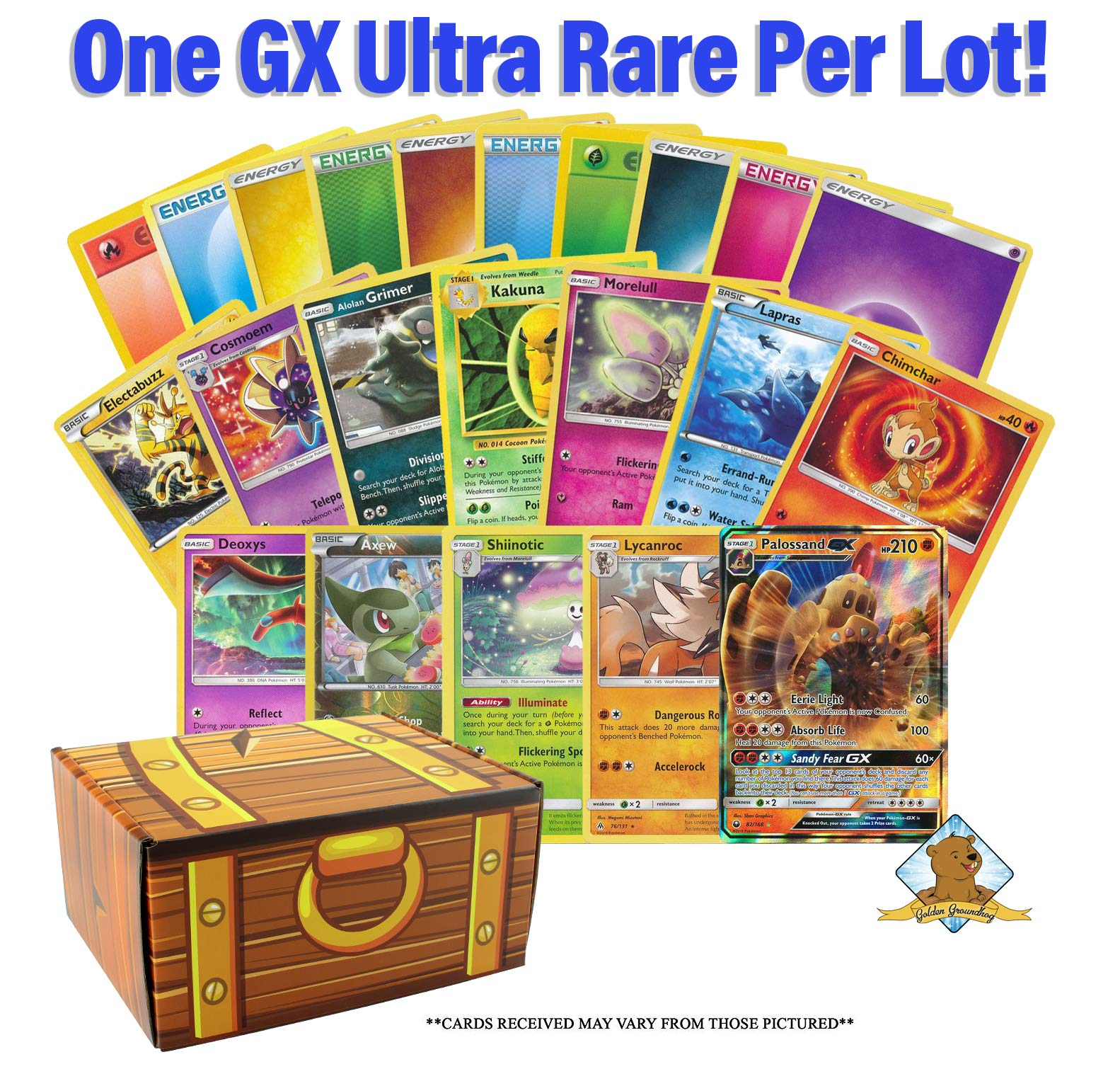 Box of Pokemon Cards Lot - 300 Pokemon Cards in Total - 200 Energy - 100 Pokemon Cards - Trainers - Rares - Foils - GX - Holos! Includes Golden Groundhog Treasure Chest Storage Box!