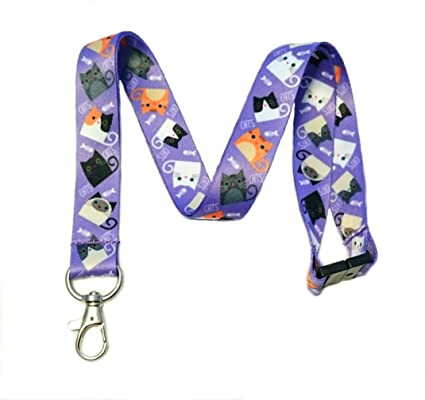 Break Away Cute Kitties Print Lanyard Key Chain Id Badge Holder