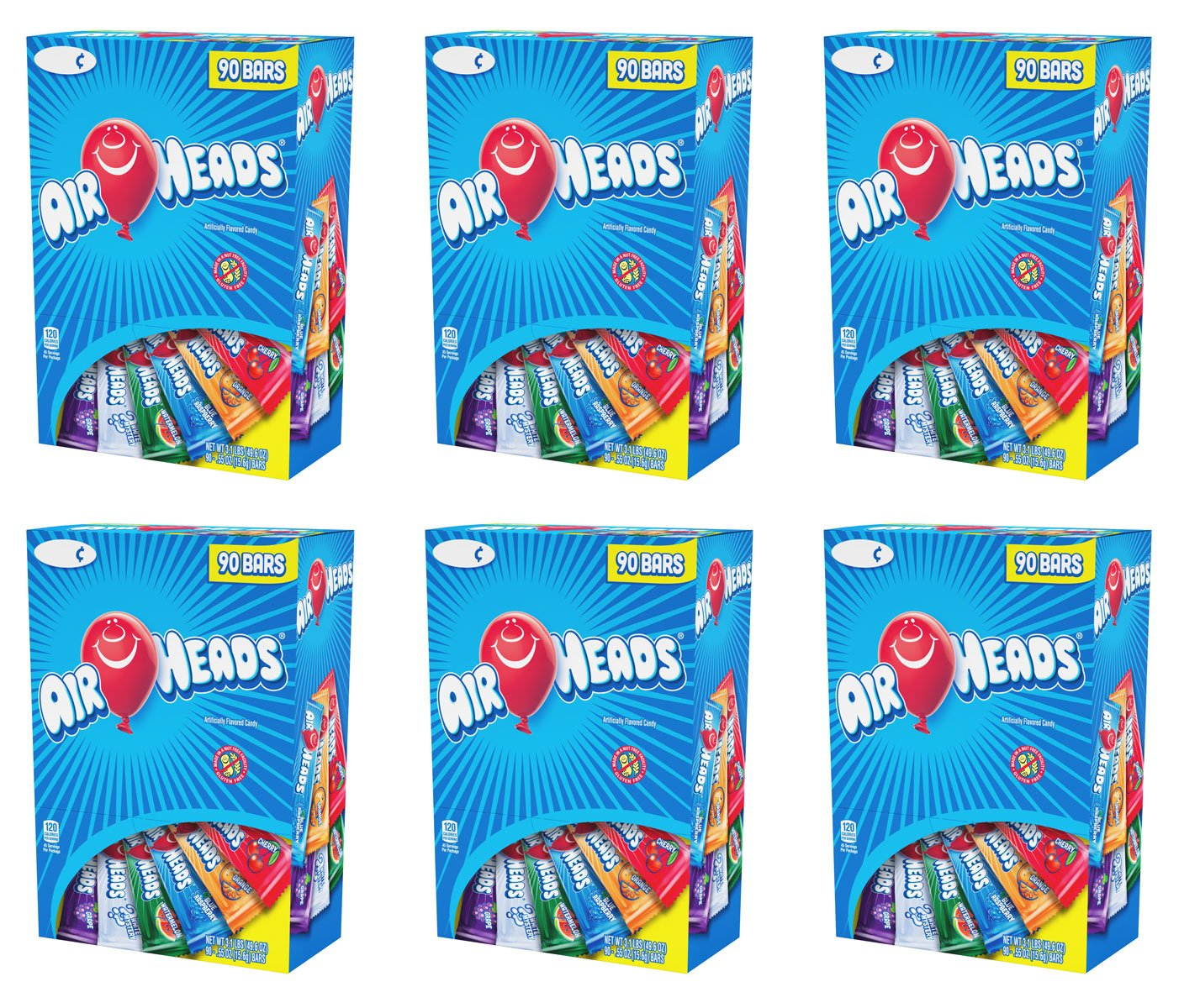 Airheads Chewy Fruit Candy, stocking stuffer, Variety Pack, 90 Count, 3.1lbs, 6 Pack