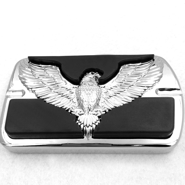Verchromtem Harley Davidson Touring Softail Bremspedal groß es Pad H-D Willie G. Eagle Hawk Emblem TTMT