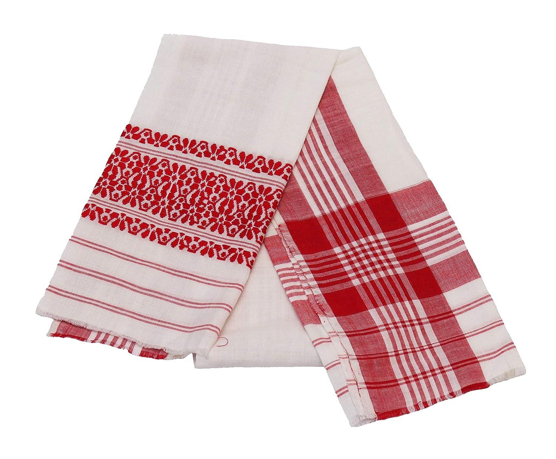 Generic White Cotton Assamese Gamusa(Gamusa-01_White_Free size)
