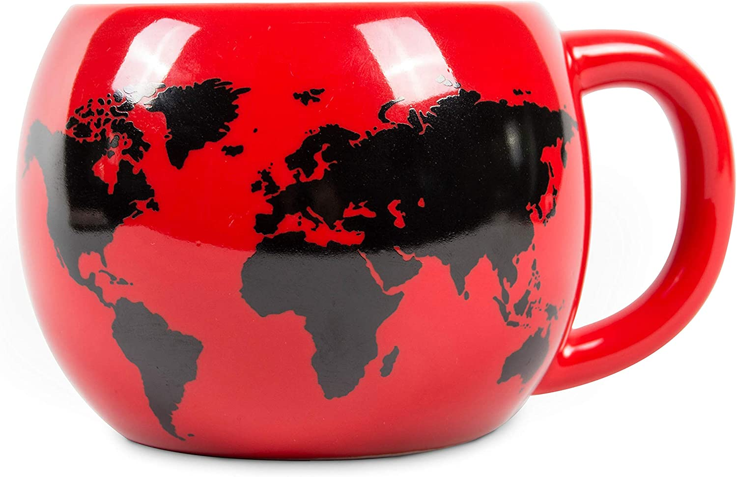 el & groove 3D globe cup in red, tea cup 250 ml (300 ml full to the brim), porcelain coffee cup, world map Worldmap Atlas Destinations, decorative