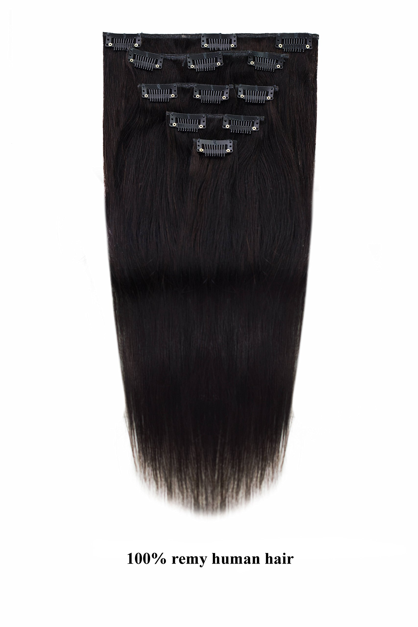 Amazon 15 Clip In Remy Human Hair Extensions 1b Off Black