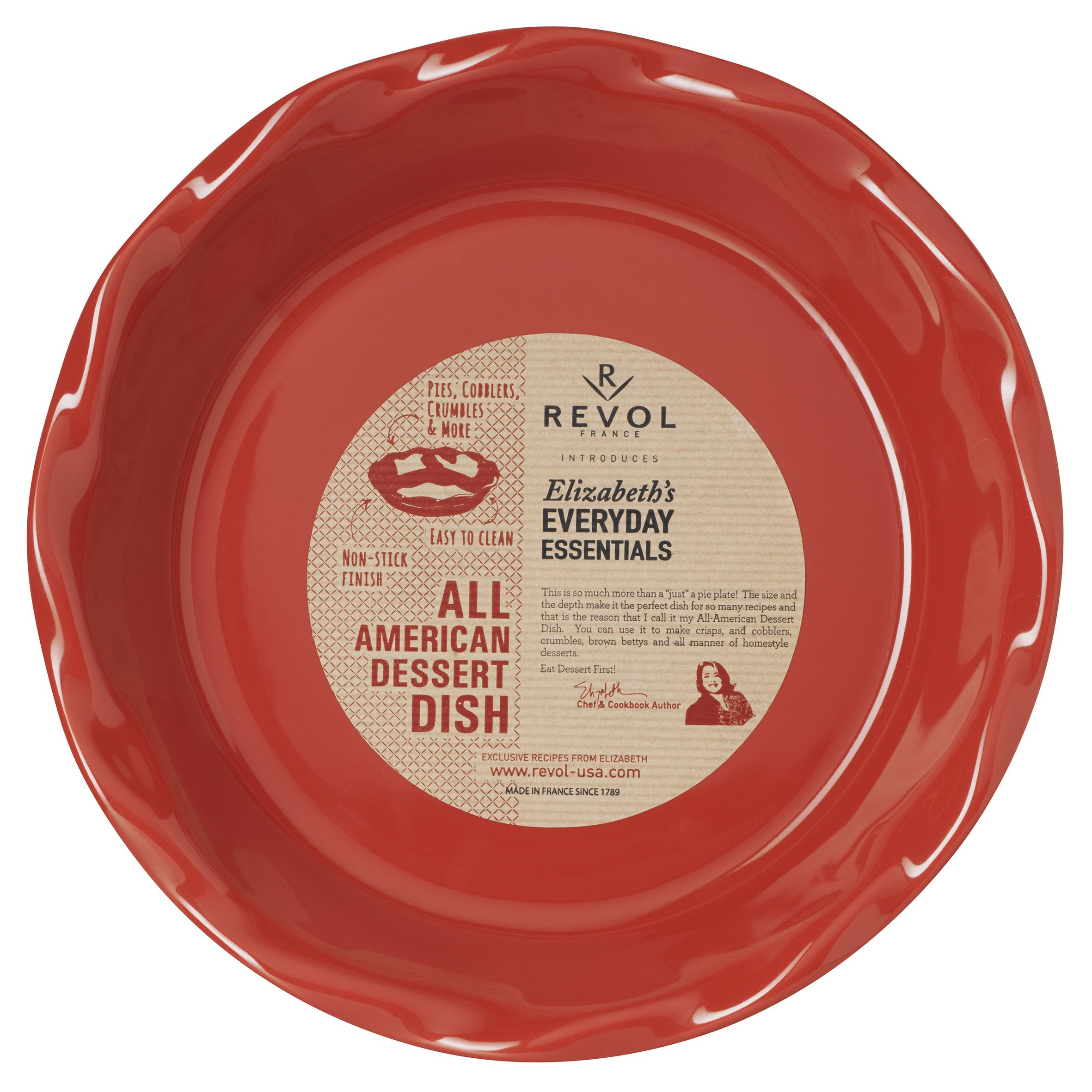 REVOL 646680 Elizabeth Karmel All American Dessert Pie Dish, 10.5 x 2.25, Pepper Red by Revol