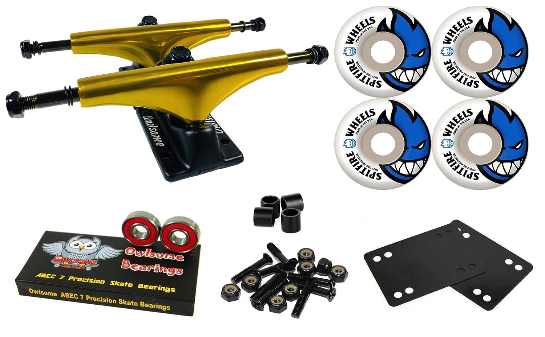 Owlsome 5.25メタリックゴールド/ブラックアルミニウムスケートボードトラックSpitfire Bighead 51 mmホイールコンボセット   B07CKYYNM9