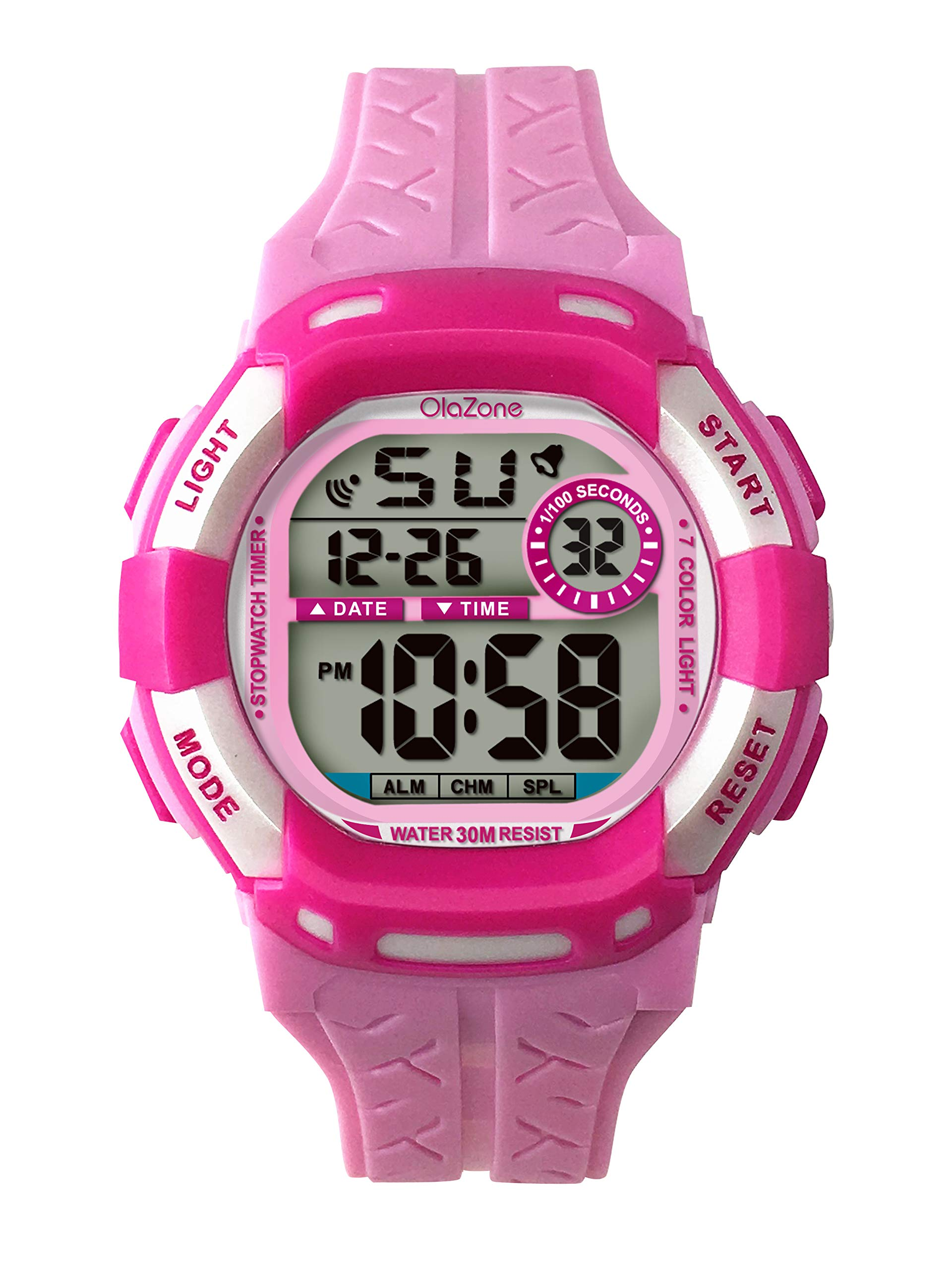 Kids Watches Girls Boys Digital 7-Color Flashing Light Water Resistant 100FT Alarm Gifts for Girls Age 5-10 485 (Pink) by OLAZONE
