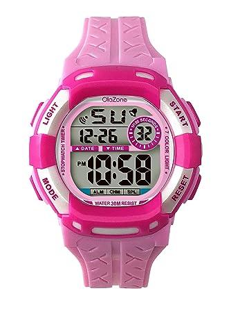 Reloj Digital para niñas 7-color luz intermitente resistente ...