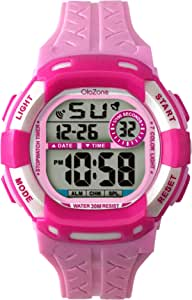 Girls Watch Kids Digital 7-Color Flashing Light Water Resistant 100FT Alarm Gifts for Girls Age 7-10 485 (Pink)