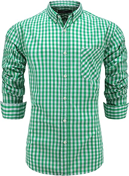 Alion Mens Oxford Long Sleeve Top Button Down Casual Dress Shirt