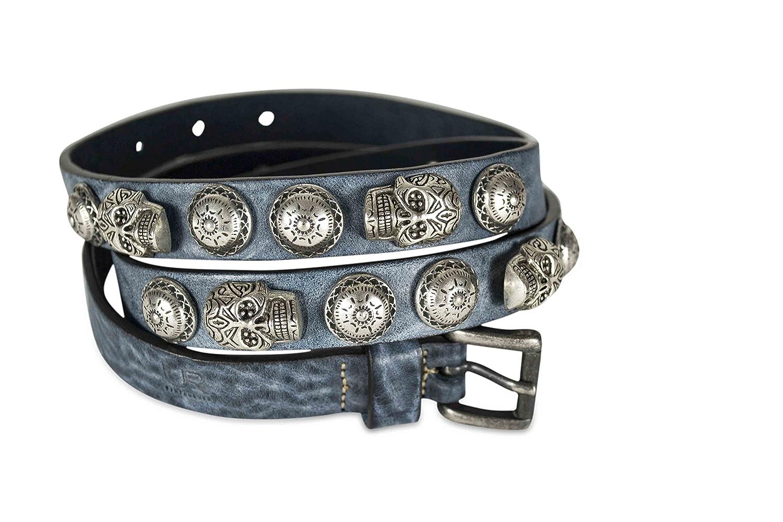 BRONZAH leather belt with metal symbols