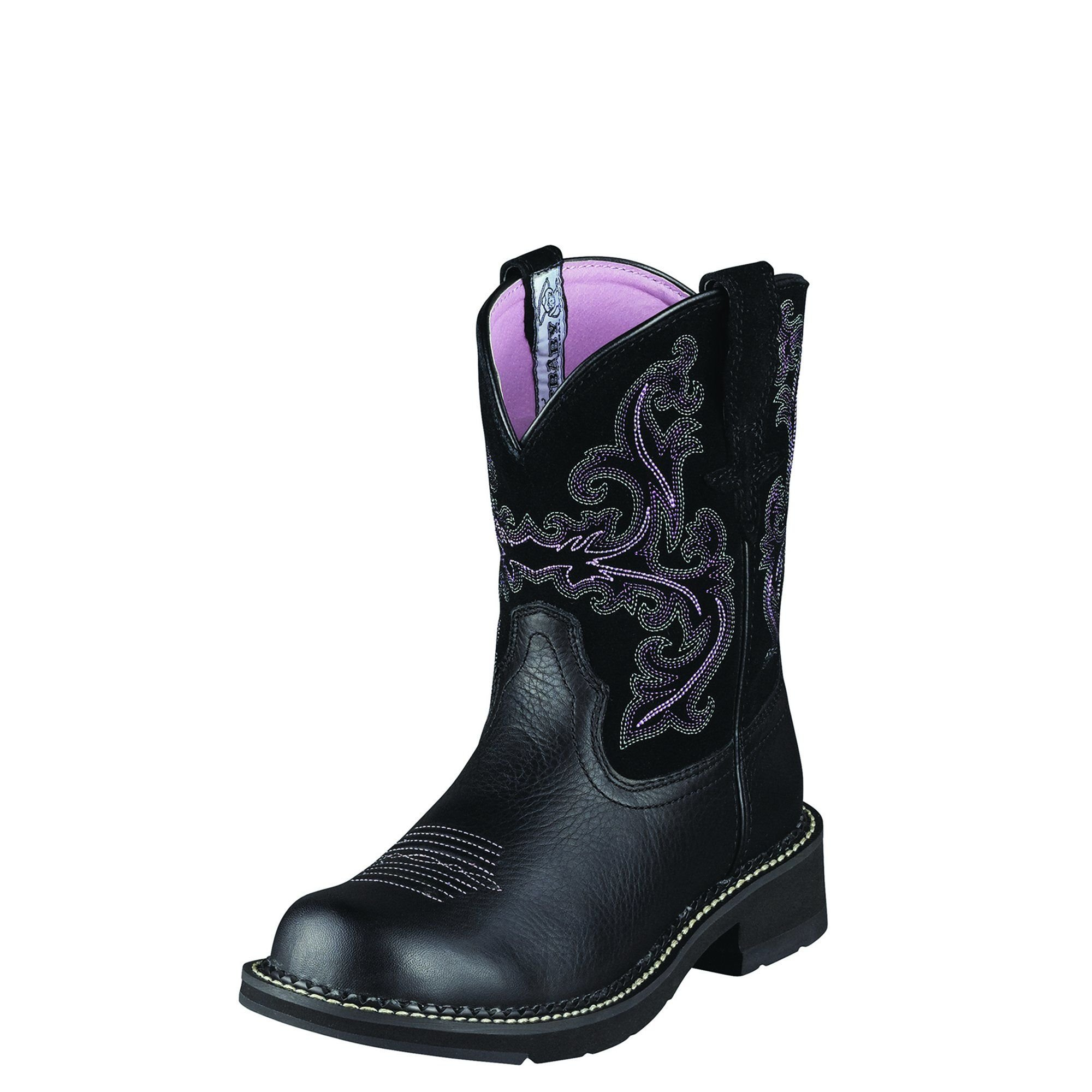 ARIAT WOMEN Fatbaby II Western Cowboy Boot, Black Deertan/Orchid, 10 M US
