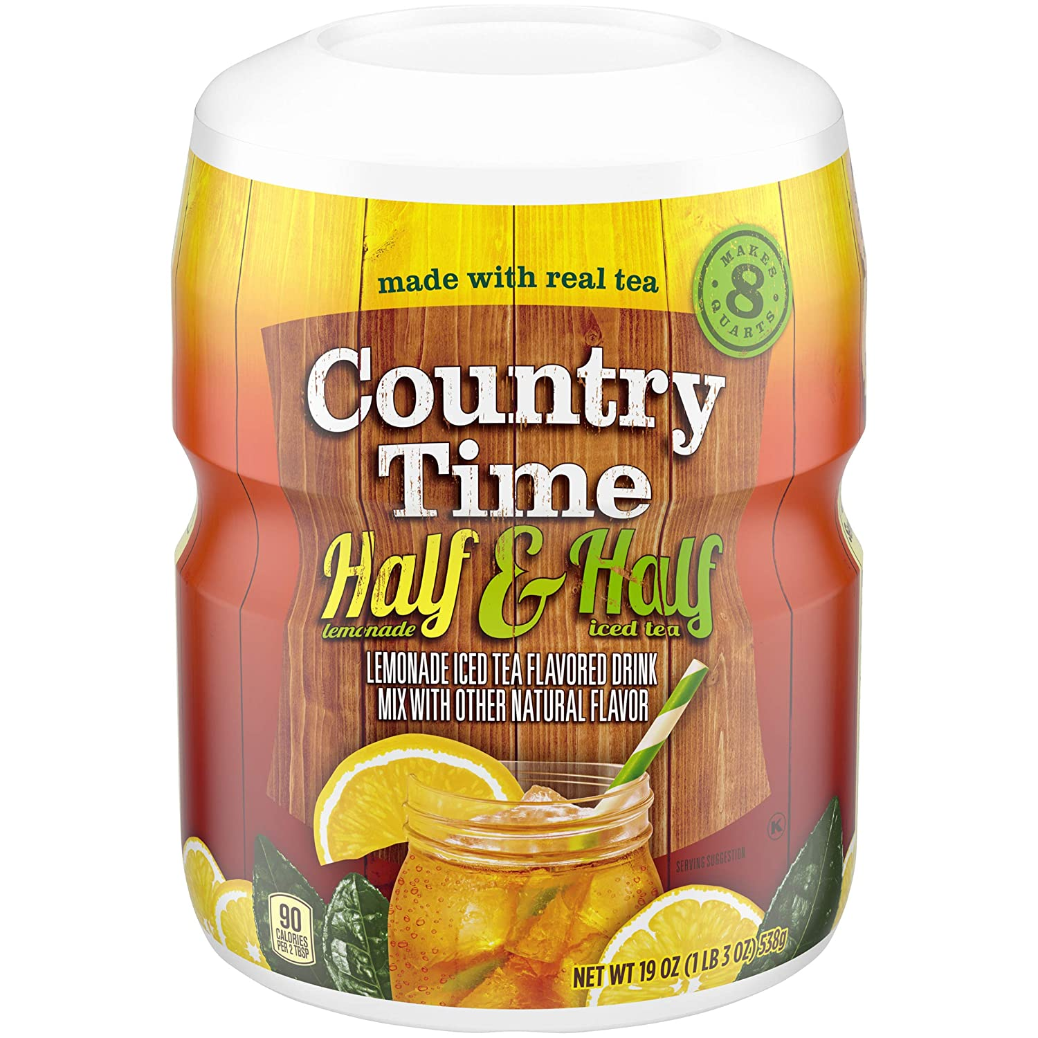 Country Time Half Lemonade & Half Iced Tea Drink Mix (19 oz Canisters, Pack of 12)