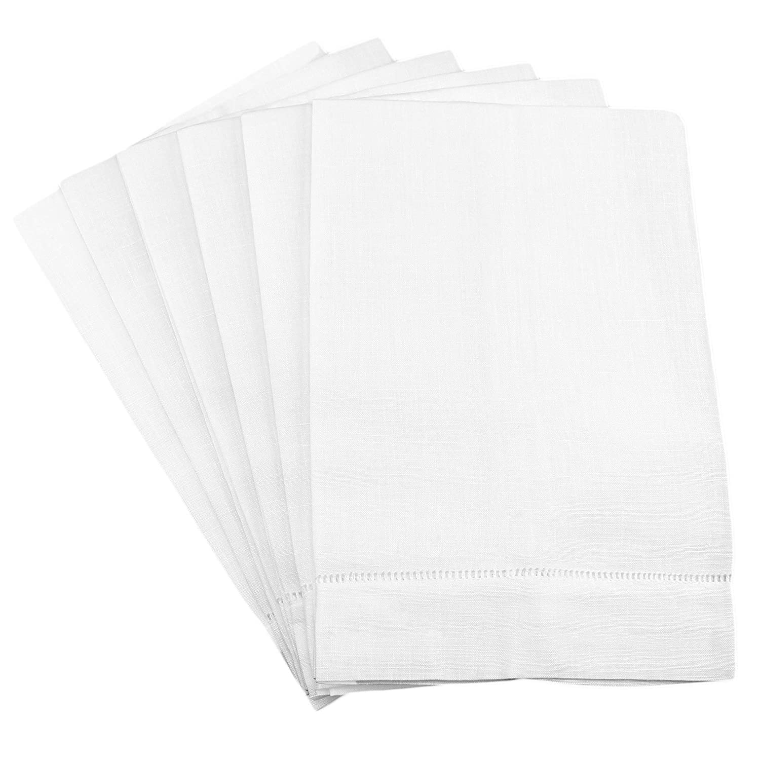 "CleverDelights 6 Pack White Linen Hemstitched Hand Towels - 14"" x 22"" - 100% Linen - Tea Towels"