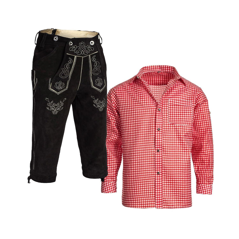 Gaudi-Leathers, Herren Trachten Set Lederhose Kniebund Schwarz m. Träger und Trachtenhemd Rot Weiß Kariert