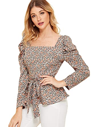 81d2761b6 Romwe Women's Long Puff Sleeve Square Neck Bow Self Tie Floral Blouse Top  at Amazon Women's Clothing store: