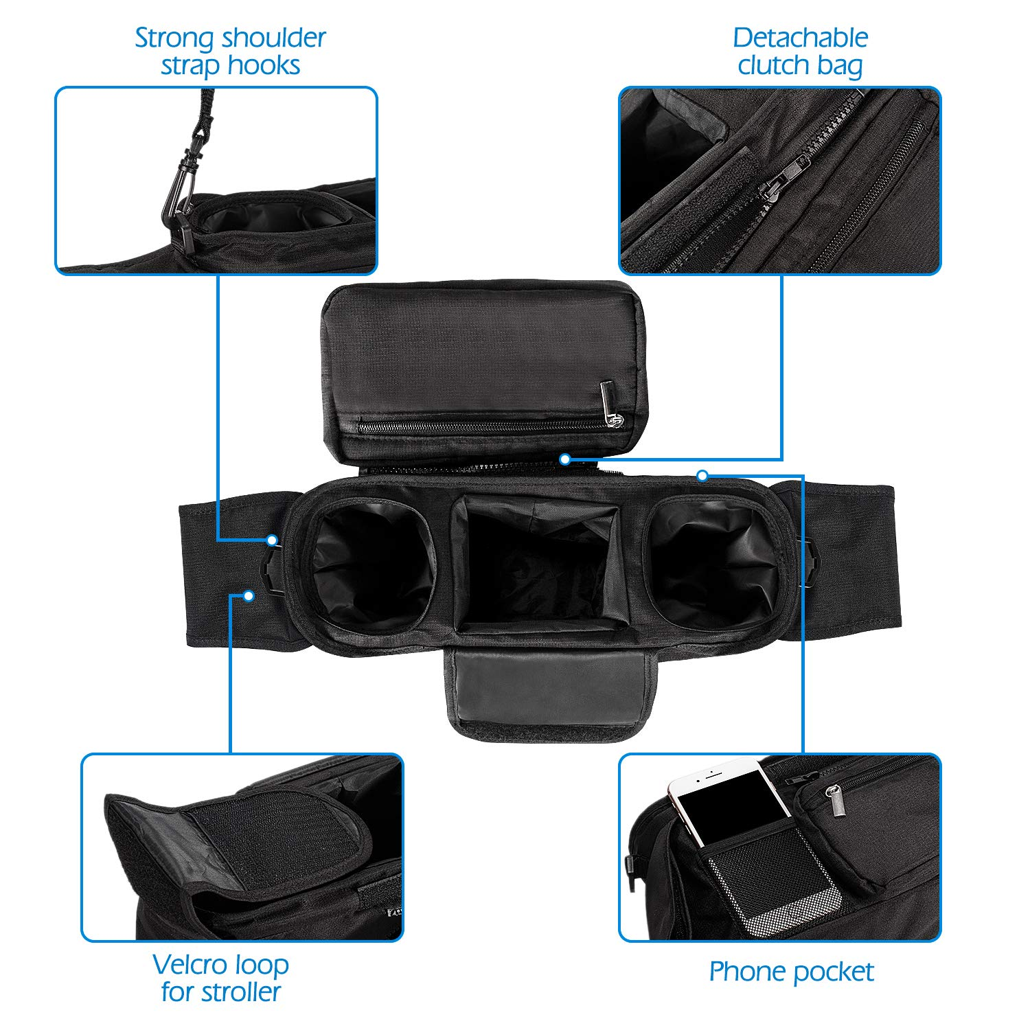 Universal Stroller Organizer with 2 Insulated Cup Holders, Lupantte Stroller Accessories, for Carrying Diaper, iPhone, Toys & Snacks, Fits Britax, Uppababy, Baby Jogger, Bugaboo and BOB Stroller. by Lupantte (Image #4)