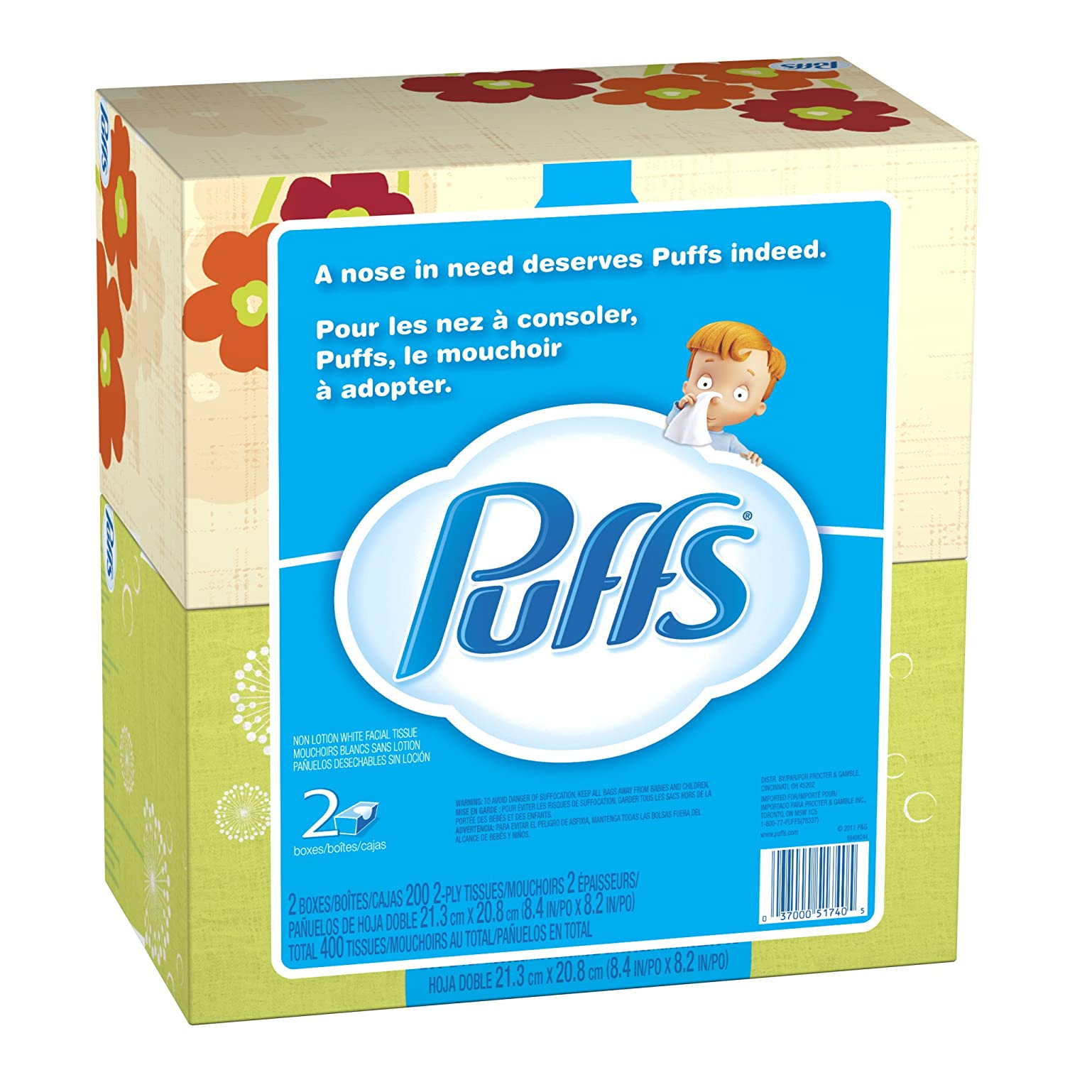 Amazon.com: Puffs Basic Non-Lotion Unscented Facial Tissues, 400-Count (Pack of 12): Health & Personal Care