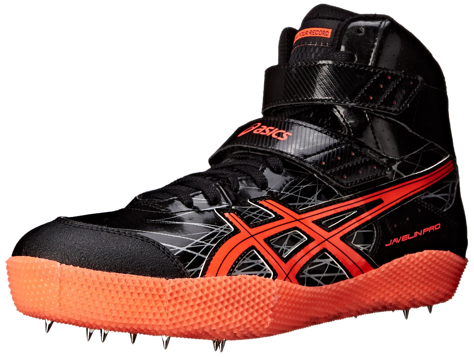 ASICS Men's Javelin Pro-M, Black/Flash Coral/Silver, 6 M US