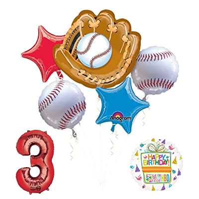 Mayflower Products Baseball 3rd Birthday Party Supplies and Balloon Bouquet Decorations: Toys & Games
