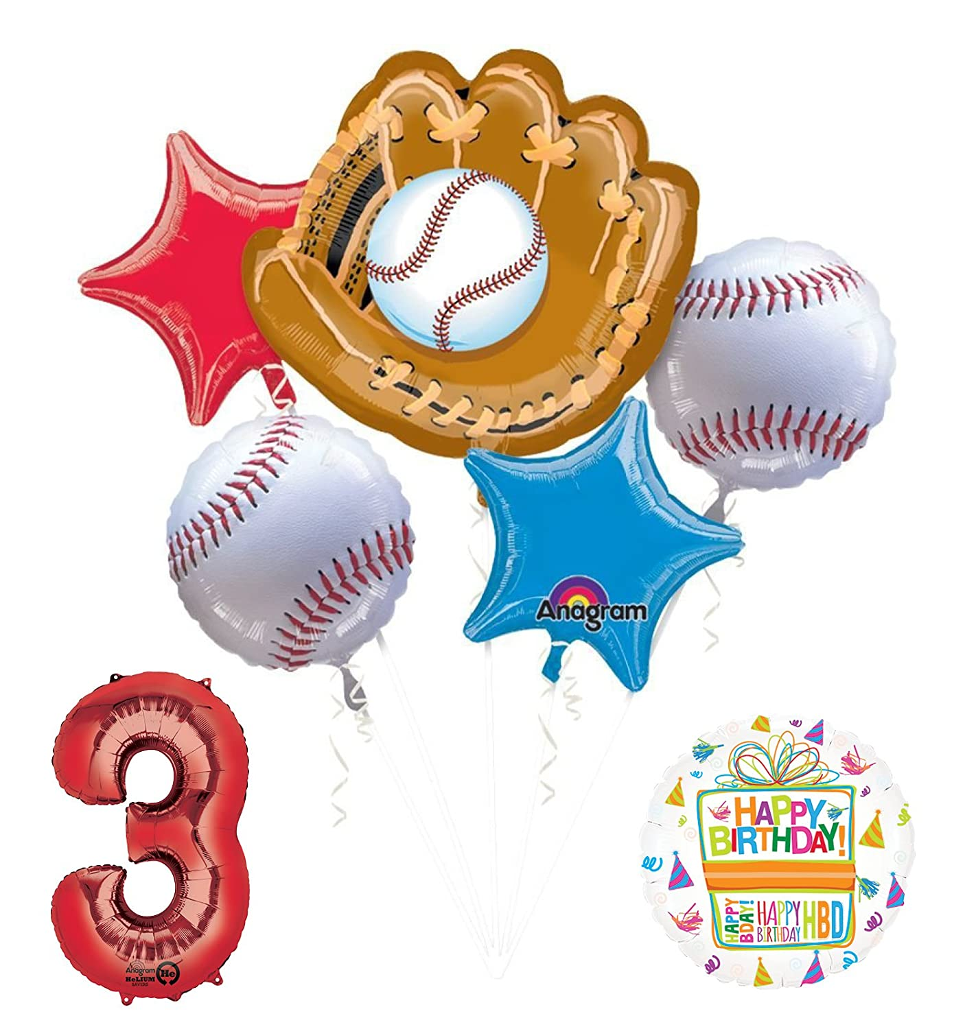 Mayflower Products Baseball 3rd Birthday Party Supplies and Balloon Bouquet Decorations