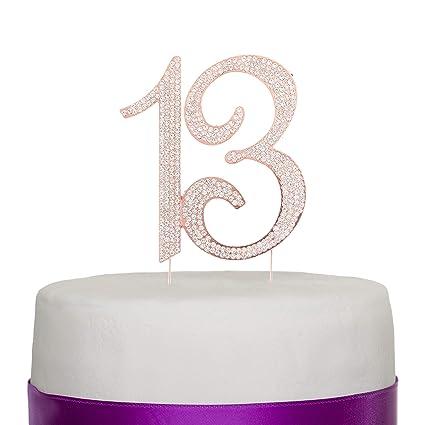 13 adornos para tarta para fiesta de 13 cumpleaños, número ...