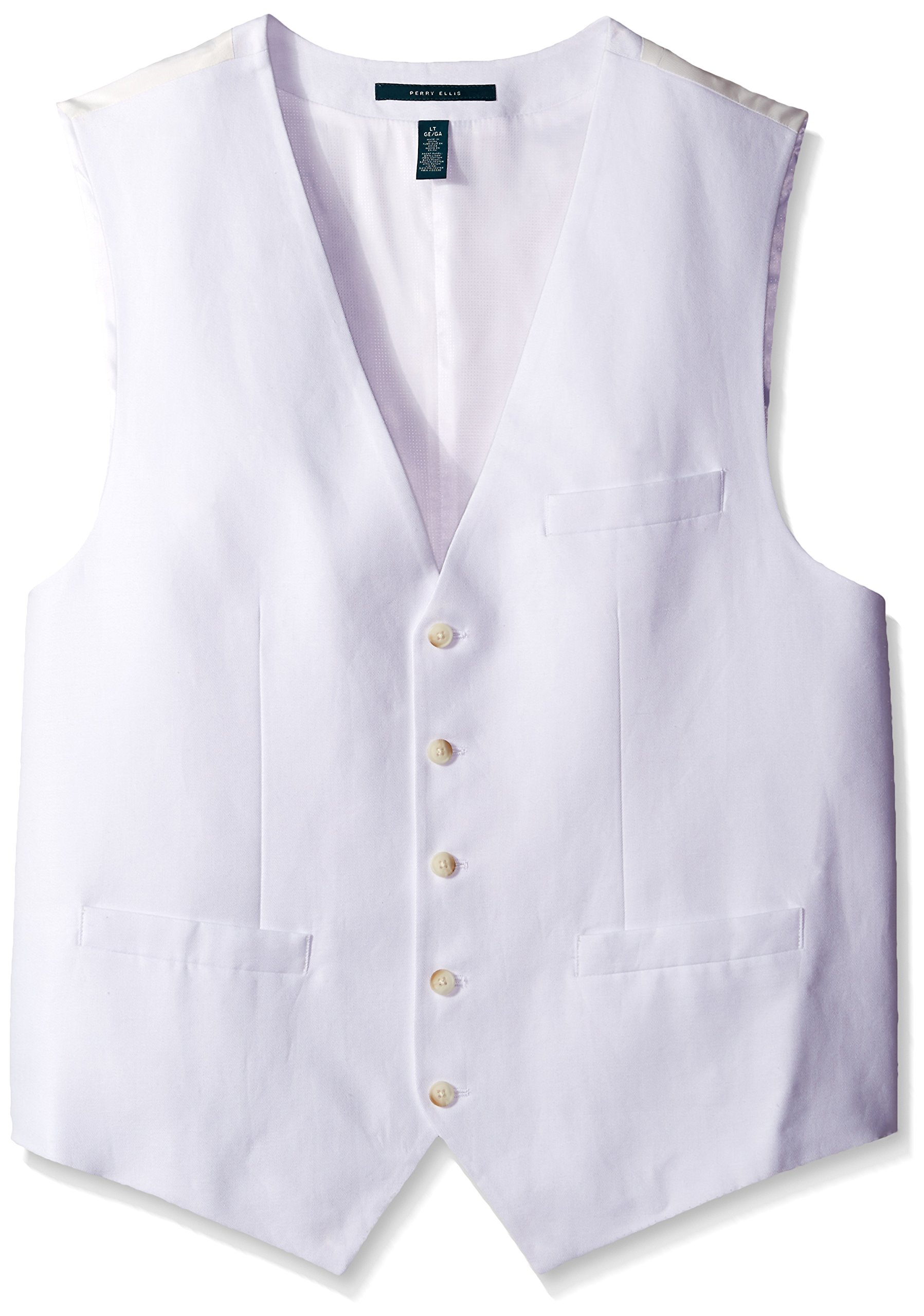 Perry Ellis Men's Big-Tall Linen Suit Vest, Bright White, X-Large/Tall by Perry Ellis