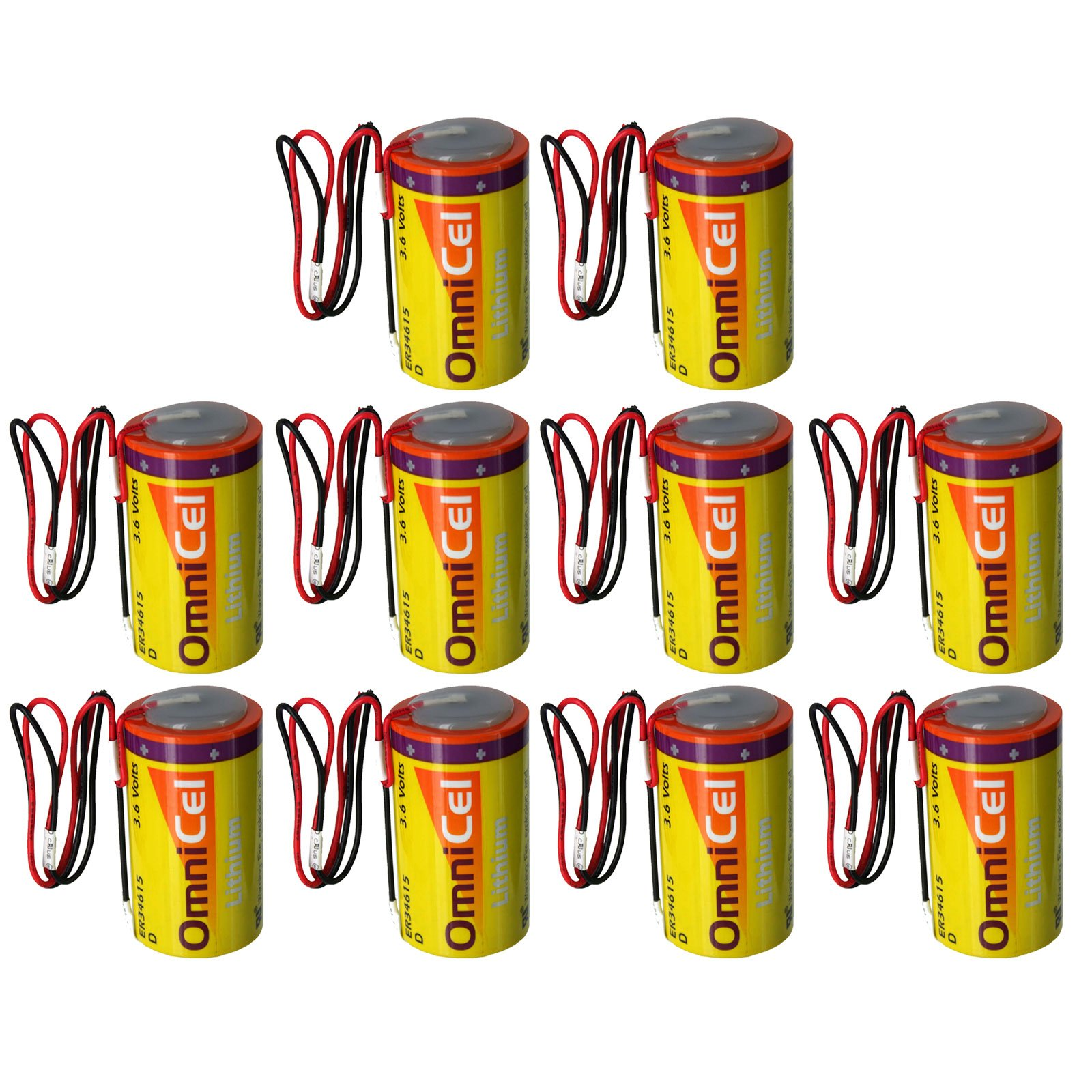 10x OmniCel ER34615 3.6V 19Ah Sz D Lithium Battery Wire Leads Utility Telematic