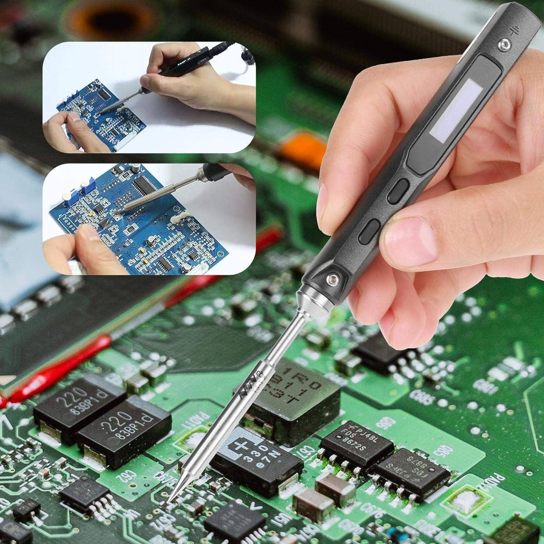 Electric Welding Repair Tool 100-400℃ Adjustable Temperature Soldering Gun Digital DC 12V-24V 65W Soldering Iron Welding Kit