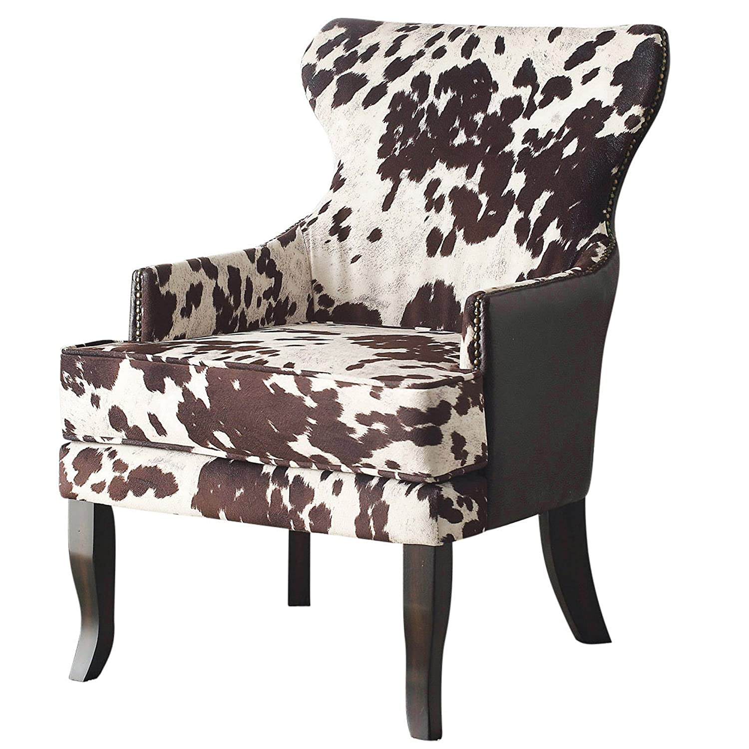 Amazon com nspire 403 795bn faux cowhide fabric leather accent chair with stud detail brown kitchen dining