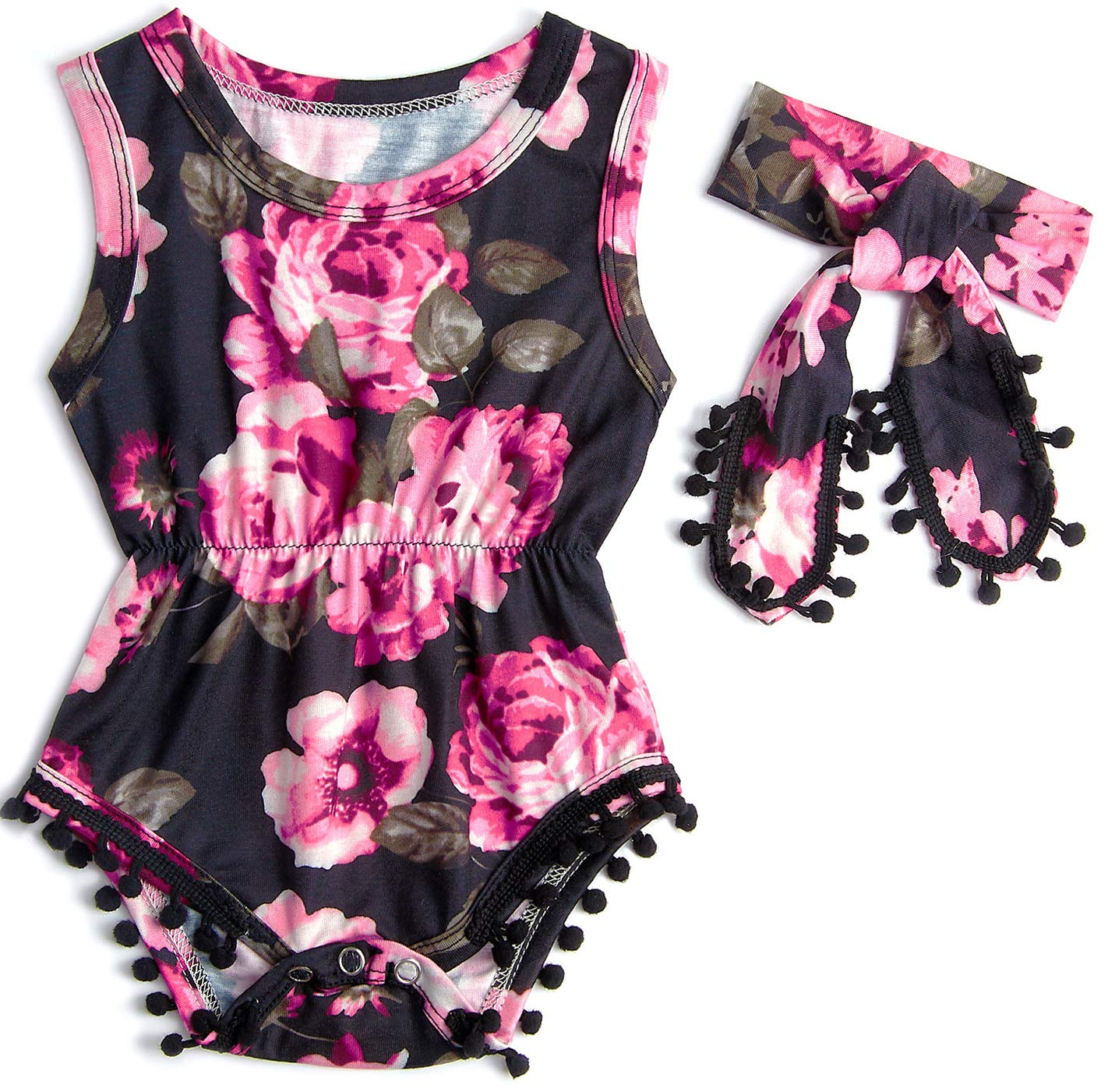 Belovecol Supersoft Cotton Sleeveless Newborn Clothes Flower Baby Girl Romper for Toddler Infant 3-6 M