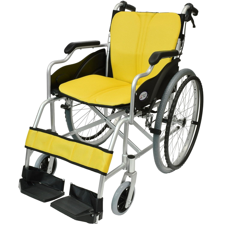 ケアテックジャパン 自走式 アルミ製 折りたたみ 車椅子 ハピネス イエロー(レモン色) CA-10SU B00S0OANQE 04 イエロー(レモン色) 04 イエロー(レモン色)
