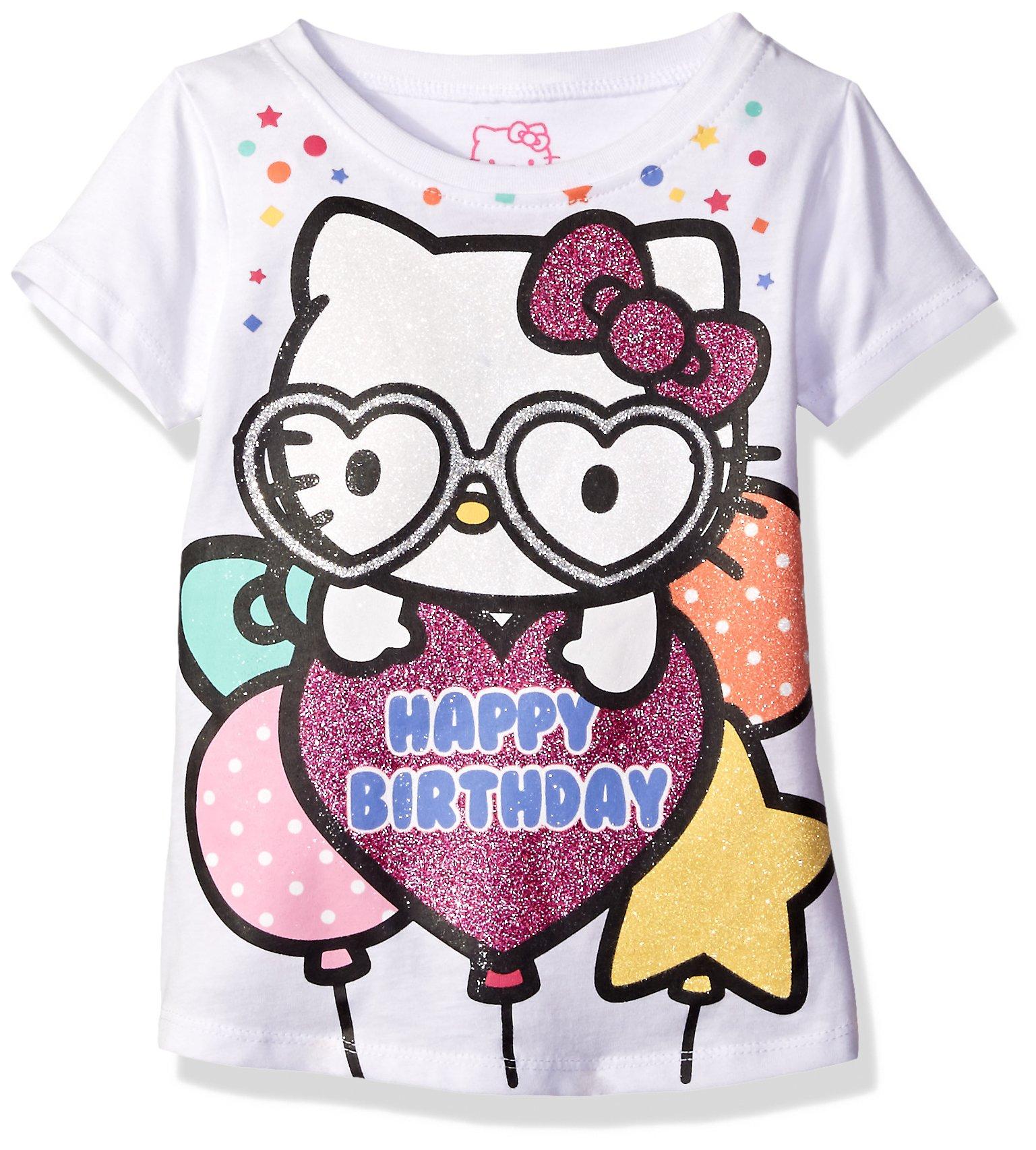 Hello Kitty Girls' Little Girls' Happy Birthday T-Shirt, White, 6X