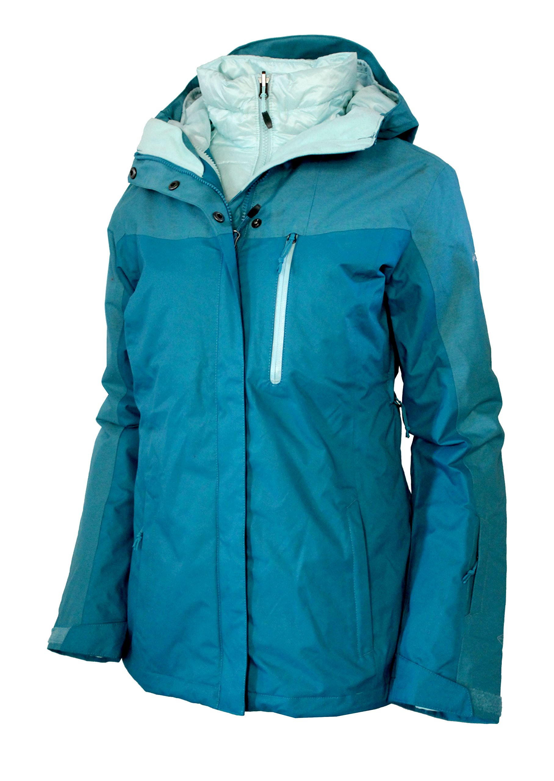 Columbia Women's Superpipe Slope 3 in 1 interchange Winter Omni Heat 650 DOWN Ski Jacket (XL, Deep Marine) by Columbia