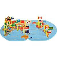 Trinkets & More™ - Wooden World Map Game with 36 Flags | Jigsaw Puzzle Teach Geography | Mapology Early Educational Toys Kids 4+ Years