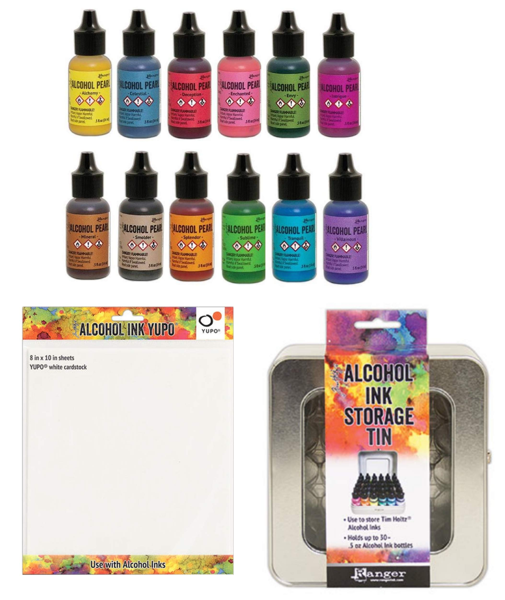 Tim Holtz - 12 Pearl Alcohol Inks, Alcohol Ink Storage Tin, One Sheet of Ranger Yupo 8 inch x10 inch White Cardstock for Making Your Own Color Chart - Bundle of 14 Items
