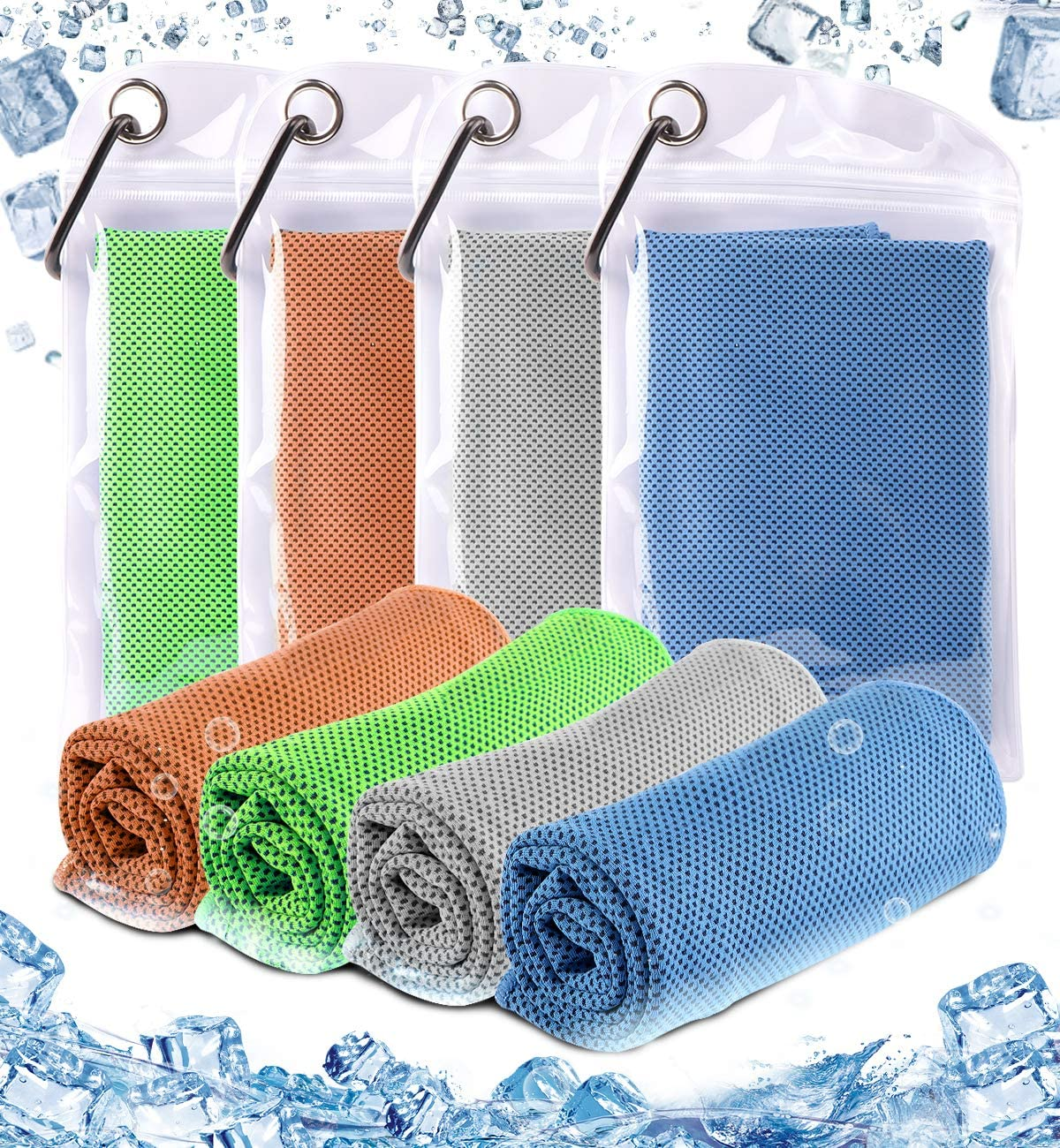 Cooling Towel - Chilly Microfiber Towel Ice Neck Wrap for Athletes Workout Sport Yoga Fast Dry 4 Pack