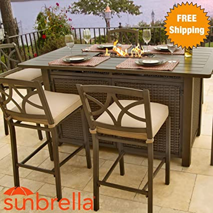 5 Piece Outdoor Bar Height Firepit Patio Furniture Set (4 Stools U0026 1 Gas