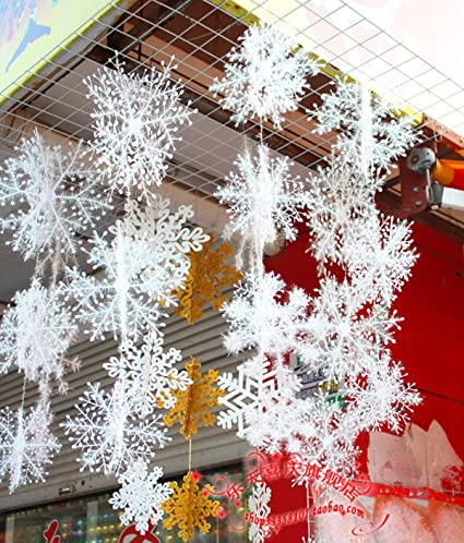 yyaaloa wall windows decor christmas 3d plastic snowflake hanging decorations party accessory pack of 1