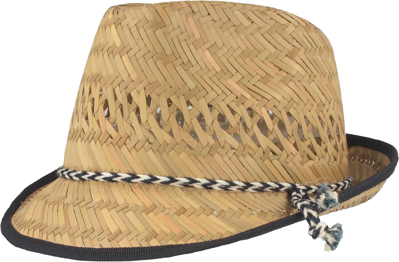 Sombrero de Paja para niños | Sombrero de Verano | Sombrero para el Sol | 100% Paja – para Chicos y Chicas - Material Ligero y Flexible – Juego de cordón Azul con Blanco.