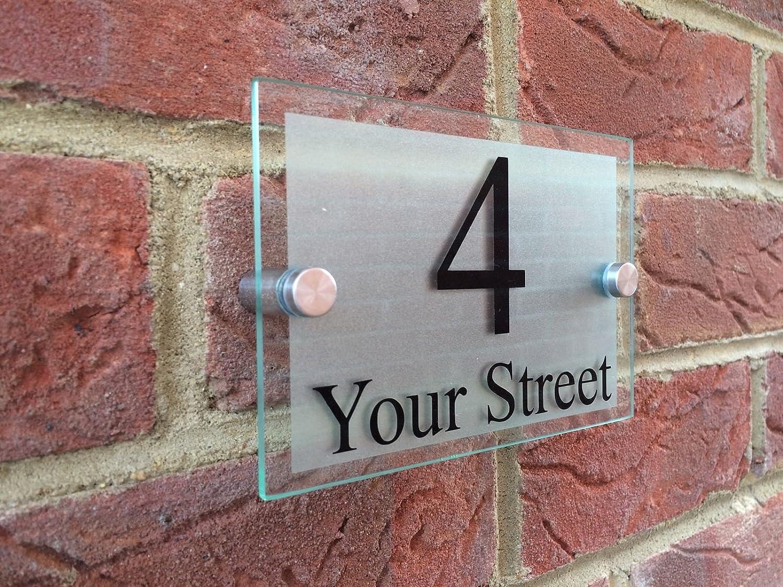 Modern Acrylic House Number Sign Door Plaque Streer Glass Black Effect Aluminum