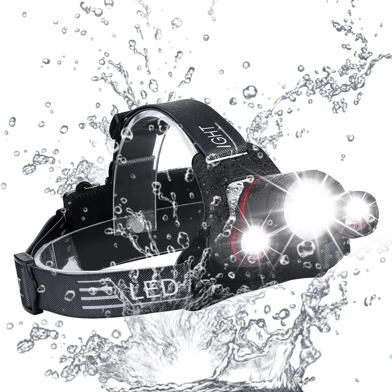 Stirnlampe LED, Zukvye 5000 Lumen USB Wiederaufladbare LED Kopflampe, Fokusverstellbare und wasserdichter Stirnlampen, 4 Helligkeits-Modi, Perfekt zum Laufen, zum Campen, zum Wandern und zum Spazierengehen.